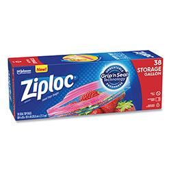Ziploc® Double Zipper Storage Bags, 1 gal, 1.75 mil, 10.56 in x 10.75 in, Clear, 342/Carton