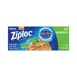 Ziploc® Resealable Sandwich Bags, 1.2 mil, 6.5 in x 5.88 in, Clear, 40/Box