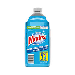Windex Glass Cleaner with Ammonia-D, 67.6oz Refill, Unscented, 6/Carton