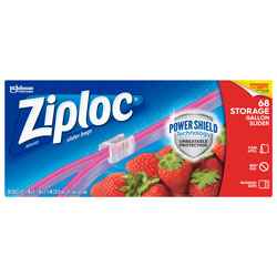 Ziploc® Slider Storage Bags, 1 gal, 9.5 in x 10.56 in, Clear, 9/Carton