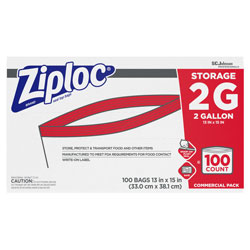 Ziploc® Double Zipper Storage Bags, 2 gal, 1.75 mil, 15 in x 13 in, Clear, 100/Carton