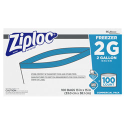 Ziploc® Double Zipper Freezer Bags, 2 gal, 2.7 mil, 13 in x 15.5 in, Clear, 100/Carton