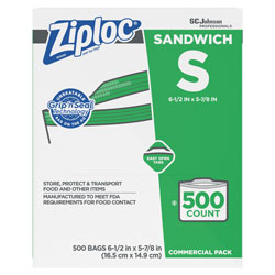 Ziploc® Resealable Sandwich Bags, 1.2 mil, 6.5 in x 6 in, Clear, 500/Box