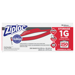 Ziploc® Double Zipper Storage Bags, 1 gal, 1.75 mil, 10.56 in x 10.75 in, Clear, 250/Box
