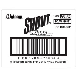 Shout Wipe & Go Instant Stain Remover, 4.7 x 5.9, 80 Packets/Carton