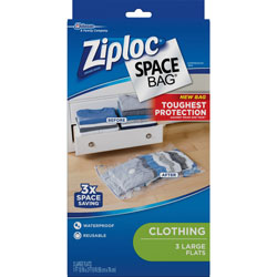 Ziploc® Space Bags, Large Flat, 3/PK, Clear/Black