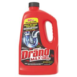 Drano Max Gel Clog Remover, Bleach Scent, 80 oz Bottle, 6/Carton