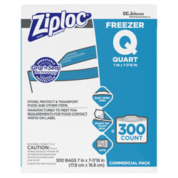 Ziploc® Double Zipper Freezer Bags, 1 qt, 2.7 mil, 7 in x 7.75 in, Clear, 300/Carton