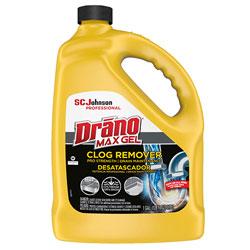 Drano Max Gel Clog Remover, Bleach Scent, 128 oz Bottle, 4/Carton