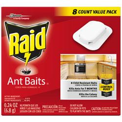 Raid Ant Baits Insecticide, Adhesive Backing, 0.24 oz., 8/BX