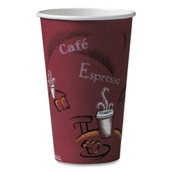 Solo Bistro Design Hot Drink Cups, Paper, 16oz, Maroon, 50/Pack