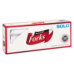 Solo Heavyweight Plastic Cutlery, Forks, White, 6.41 in, 500/Carton