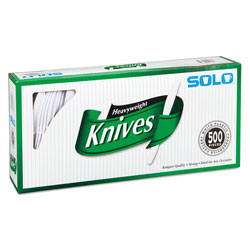 Solo Heavyweight Plastic Cutlery, Knives, White, 7 in, 500/Carton
