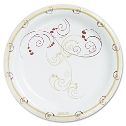Solo Symphony Paper Dinnerware, Heavyweight Plate, 9 in, Tan, 125/Pack