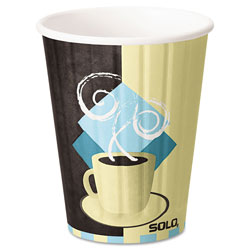 Solo Duo Shield Insulated Paper Hot Cups, 12oz, Tuscan, Chocolate/Blue/Beige, 600/Ct