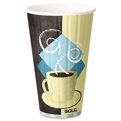 Solo Duo Shield Insulated Paper Hot Cups, 16 oz, Tuscan Chocolate/Blue/Beige, 525/Ct