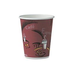 Solo Bistro Design Hot Drink Cups, Paper, 10oz, Maroon, 300/Carton