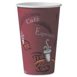 Solo Bistro Design Hot Drink Cups, Paper, 16oz, Maroon, 300/Carton