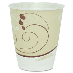 Solo Symphony Design Trophy Foam Hot/Cold Drink Cups, 8 oz, Beige, 100/Pack