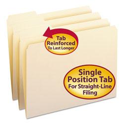 Smead Reinforced Tab Manila File Folders, 1/3-Cut Tabs, Left Position, Letter Size, 11 pt. Manila, 100/Box