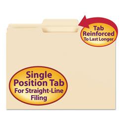 Smead Reinforced Tab Manila File Folders, 1/3-Cut Tabs, Center Position, Letter Size, 11 pt. Manila, 100/Box