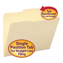 Smead Reinforced Guide Height File Folders, 2/5-Cut 2-Ply Tab, Right of Center, Letter Size, Manila, 100/Box