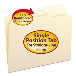 Smead Reinforced Guide Height File Folders, 2/5-Cut Tabs, Right of Center, Letter Size, Manila, 100/Box