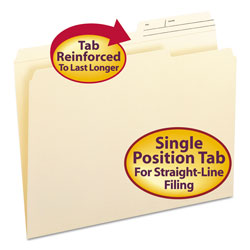 Smead Reinforced Guide Height File Folders, 2/5-Cut Printed Tab, Right of Center, Letter Size, Manila, 100/Box
