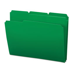 Smead Top Tab Poly Colored File Folders, 1/3-Cut Tabs, Letter Size, Green, 24/Box