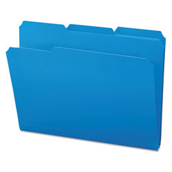 Smead Top Tab Poly Colored File Folders, 1/3-Cut Tabs, Letter Size, Blue, 24/Box