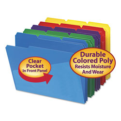 Smead Poly Colored File Folders with Slash Pocket, 1/3-Cut Tabs, Letter Size, Assorted, 30/Box