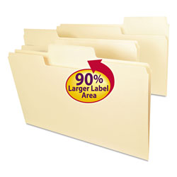 Smead SuperTab Top Tab File Folders, 1/3-Cut Tabs, Legal Size, 11 pt. Manila, 100/Box