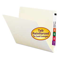 Smead Heavyweight Manila End Tab Folders, 9 in Front, Straight Tab, Letter Size, 100/Box
