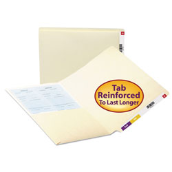 Smead Heavyweight Manila End Tab Pocket Folders with Front Pocket, Straight Tab, Letter Size, 50/Box