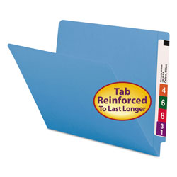 Smead Reinforced End Tab Colored Folders, Straight Tab, Letter Size, Blue, 100/Box