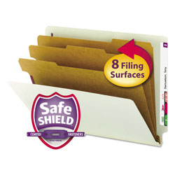 Smead End Tab Pressboard Classification Folders with SafeSHIELD Coated Fasteners, 3 Dividers, Letter Size, Gray-Green, 10/Box