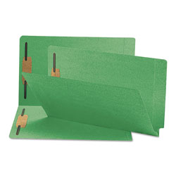 Smead Heavyweight Colored End Tab Folders with Two Fasteners, Straight Tab, Legal Size, Green, 50/Box