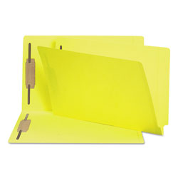 Smead Heavyweight Colored End Tab Folders with Two Fasteners, Straight Tab, Legal Size, Yellow, 50/Box