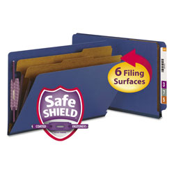 Smead End Tab Colored Pressboard Classification Folders with SafeSHIELD Coated Fasteners, 2 Dividers, Legal Size, Dark Blue, 10/Box