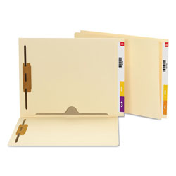 Smead Heavyweight Manila End Tab Pocket Folders with Two Fasteners, Straight Tab, Letter Size, 50/Box