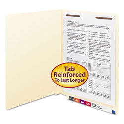 Smead Manila End Tab 1-Fastener Folders with Reinforced Tabs, 0.75 in Expansion, Straight Tab, Letter Size, 11 pt. Manila, 50/Box