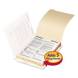 Smead Stackable Folder Dividers w/ Fasteners, 1/5-Cut End Tab, Letter Size, Manila, 50/Pack