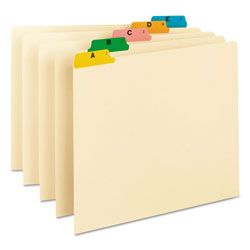 Smead Alphabetic Top Tab Indexed File Guide Set, 1/5-Cut Top Tab, A to Z, 8.5 x 11, Manila, 25/Set