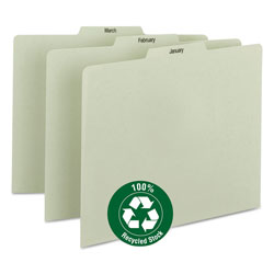 Smead 100% Recycled Monthly Top Tab File Guide Set, 1/3-Cut Top Tab, January to December, 8.5 x 11, Green, 12/Set