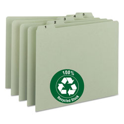 Smead 100% Recycled Daily Top Tab File Guide Set, 1/5-Cut Top Tab, 1 to 31, 8.5 x 11, Green, 31/Set
