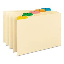 Smead Alphabetic Top Tab Indexed File Guide Set, 1/5-Cut Top Tab, A to Z, 8.5 x 14, Manila, 25/Set
