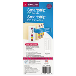 Smead Color-Coded Smartstrip Refill Label Forms, Laser Printer, Assorted, 1.5 x 7.5, White, 250/Pack