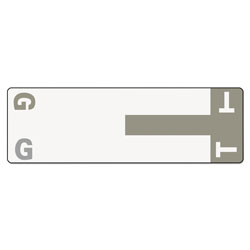 Smead AlphaZ Color-Coded First Letter Combo Alpha Labels, G/T, 1.16 x 3.63, Gray/White, 5/Sheet, 20 Sheets/Pack