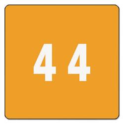 Smead Numerical End Tab File Folder Labels, 4, 1.5 x 1.5, Orange, 250/Roll