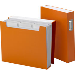 Smead Book Shelf Organizer with SuperTab, 6 Pockets, 2 1/2 in Exp, Letter, Orange/White